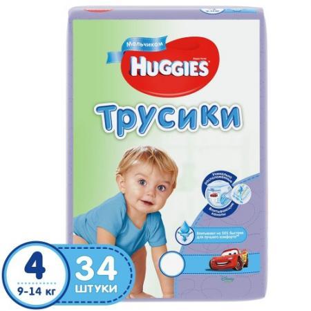 HUGGIES Подгузники-трусики Джинс размер 4 9-14кг 34шт для мальчиков подгузники greenty 4 9 14кг 44шт grep 4m