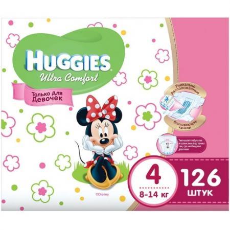 HUGGIES Подгузники Ultra Comfort Размер 4 8-14кг Disney Box 42*3 126шт для девочек huggies трусики подгузники 5 для девочек 13 17 кг disney box 48 2 96 шт huggies