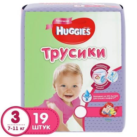 HUGGIES Подгузники-трусики PANTS Annapurna Размер 3 7-11кг 19 шт для девочек трусики подгузники huggies для девочек 5 13 17 кг 32 шт