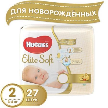 HUGGIES Подгузники Элит Софт 2 3-6кг 27шт хэппи подгузники 8 18кг maxi 27шт