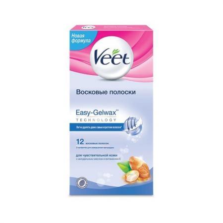 VEET Восковые полоски для чувствительной кожи c технологией Easy Gel-wax 12шт veet veet восковые полоски с маслом ши серии naturals c технологией easy gel wax 10шт