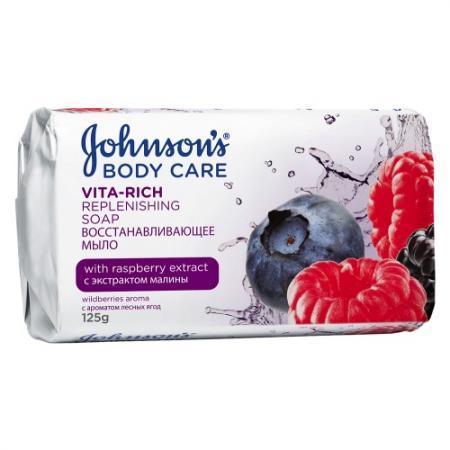 Johnsons Body Care VITA-RICH Восстанавливающее мыло с экстрактом малины c ароматом лесных ягод 125 г johnsons body care vita rich смотка гель для душа с экстрактом лесных ягод 250мл гель для душа с мас