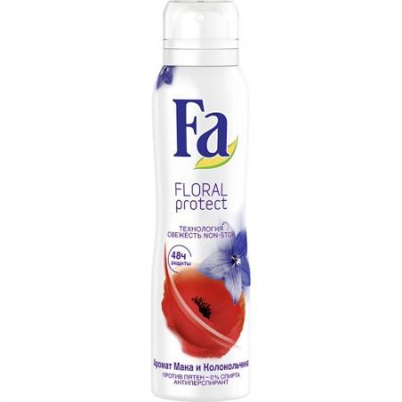 Fa Дезодорант-антиперспирант аэрозоль Floral Protect Мак & Колокольчик 150мл антиперспирант maxim dabomatic 30% дезодорант максим