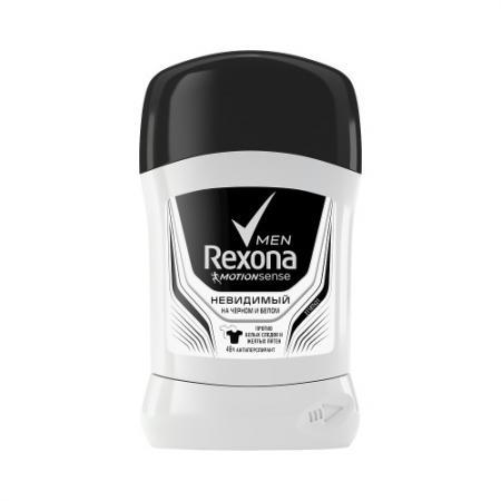 REXONA Антиперспирант-карандаш мужской Невидимый на черном и белом RUBIK 50мл rexona антиперспирант аэрозоль мужской антибактериальный и невидимый на черном и белом 150мл
