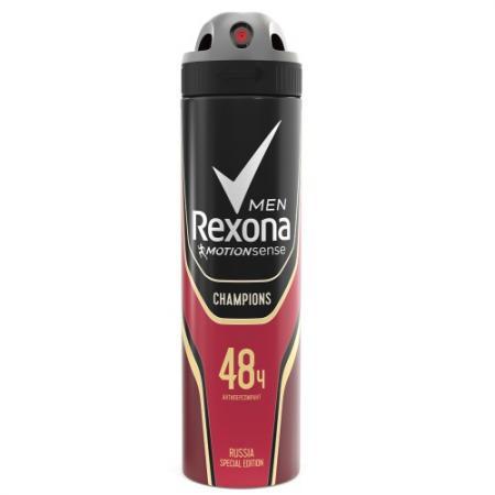 REXONA Антиперспирант аэрозоль мужской Champions 150мл rexona антиперспирант аэрозоль мужской антибактериальный и невидимый на черном и белом 150мл