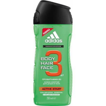 Adidas Body-Hair-Face Active Start гель для душа, шампунь и гель для умывания для мужчин 250 мл гели adidas гель для душа adipure 250 мл