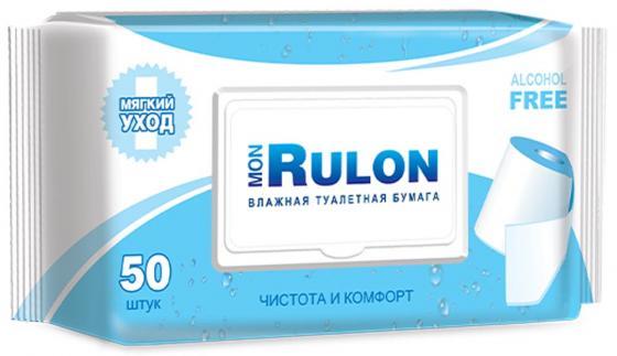 Влажная туалетная бумага Mon Rulon 50 шт не содержит спирта влажная гипоаллергенные mon massagué балетки