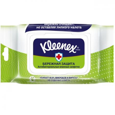Салфетки влажные Kleenex Антибактриальные 40 шт влажная гипоаллергенные 9440102 салфетки влажные авангард 48107 15 шт влажная