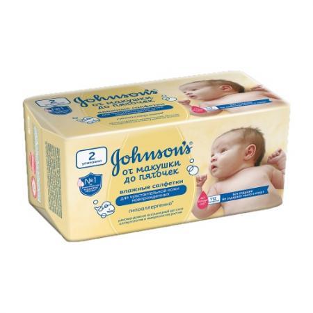 Johnsons Детские влажные салфетки От макушки до пяточек без отдушки 112 шт. johnsons baby для самых маленьких без отдушки 24 шт джонсонс бэби johnsons baby