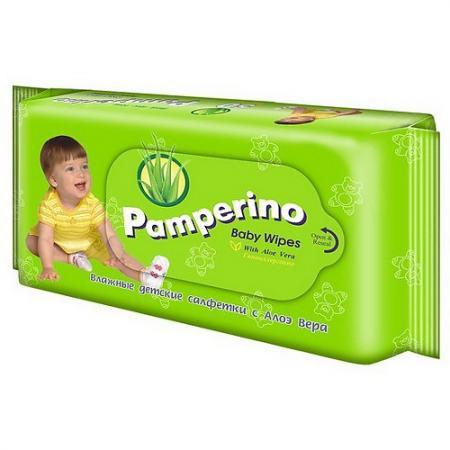 PAMPERINO Салфетки влажные детские с Алоэ вера 50шт влажные салфетки maneki fantasy с экстрактом ромашки и алоэ вера 80 шт