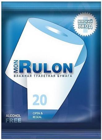 Влажная туалетная бумага Mon Rulon 20 шт ароматизированная не содержит спирта влажная гипоаллергенны влажная туалетная бумага mon rulon не содержит спирта влажная гипоаллергенные 50 шт