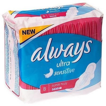 ALWAYS Ultra Sensitive Женские гигиенические прокладки Super Plus Single 8шт