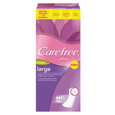 Carefree Салфетки plus Large Fresh ароматизированные 20шт НДС18% carefree салфетки plus large fresh ароматизированные 20шт гель с алоэ для интимной гигиены 200мл в подарок
