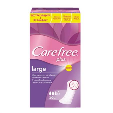 Салфетки Carefree plus Large 36 шт без отдушки 80172