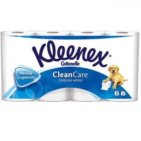 Бумага туалетная Kleenex Clean Care Delicate white 8 шт 2-ух слойная растворяются в воде 9450008 туалетная бумага анекдоты ч 8 мини 815605