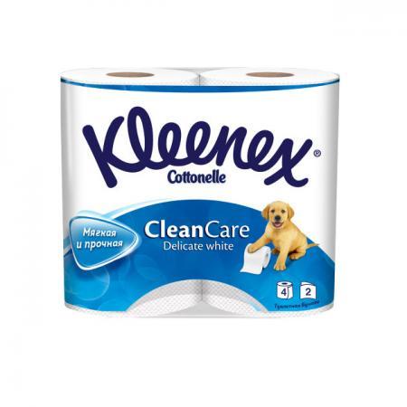 Бумага туалетная Kleenex Clean Care 4 шт 2-ух слойная растворяются в воде 9450004