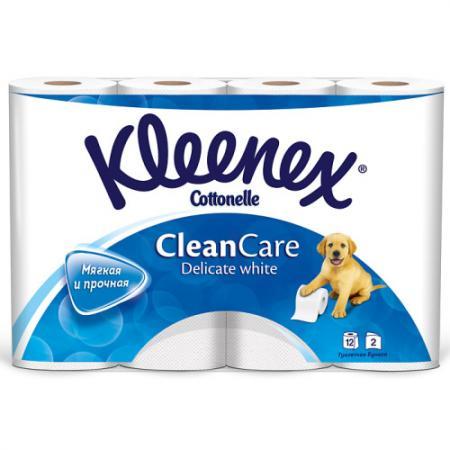 Бумага туалетная Kleenex Clean Care Delicate white 12 шт 2-ух слойная растворяются в воде 9450012