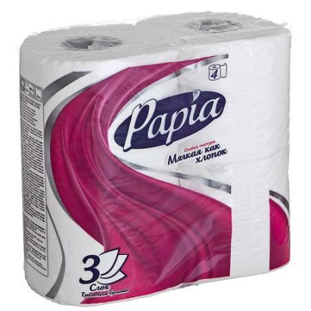 PAPIA Туалетная бумага Белая 3 слоя, 4 шт