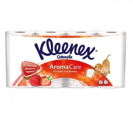 Бумага туалетная Kleenex Сочная Клубника 8 шт ароматизированная растворяются в воде 3-ех слойная 945