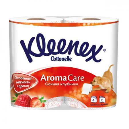Бумага туалетная Kleenex Сочная Клубника 4 шт растворяются в воде ароматизированная 3-ех слойная 945