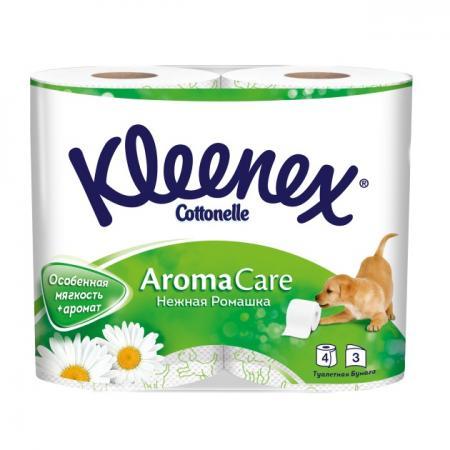 Бумага туалетная Kleenex Нежная Ромашка 4 шт ароматизированная растворяются в воде 3-ех слойная 9450