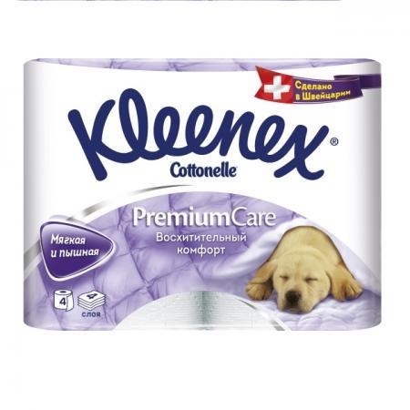 Бумага туалетная Kleenex Премиум Комфорт 4 шт растворяются в воде 4-ех слойная 4284155