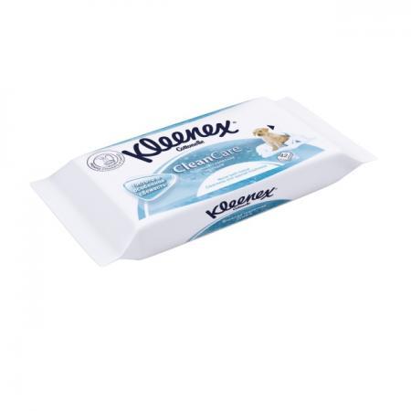 Влажная туалетная бумага Kleenex CleanCare 42 шт влажная гипоаллергенные 9440080 салфетки влажные kleenex антибактриальные 40 шт влажная гипоаллергенные 9440102