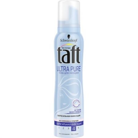 TAFT Пена для укладки Ultra Pure сверхсильная фиксация 150мл пена д волос taft classic густые и пышные сверхсильная фиксация 150мл