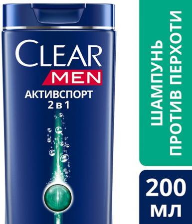 Шампунь Clear АктивСпорт 200 мл шампунь clear активспорт 400 мл
