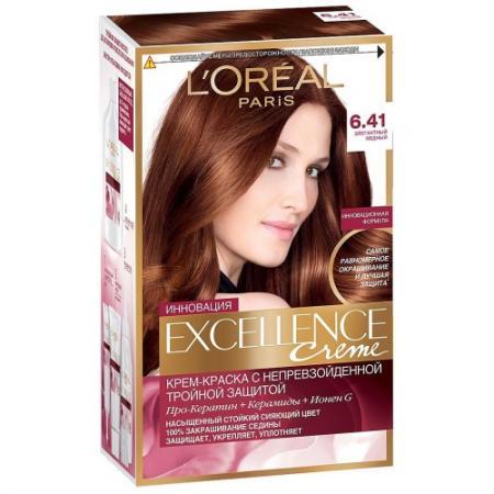 LOREAL EXCELLENCE краска для волос тон 6.41 медный тёмно-русый loreal excellence краска для волос тон 100 black