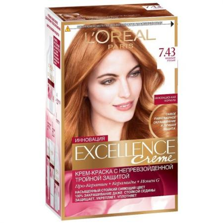 LOREAL EXCELLENCE Краска для волос тон 7.43 Медный русый loreal excellence краска для волос тон 100 black