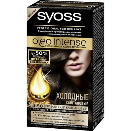 Syoss Oleo Intense Краска для волос 4-50 Графитовый каштановый 115 мл syoss краска для волос syoss color professional performance 28 оттенков 115 мл 5 8 ореховый светло каштановый 115 мл