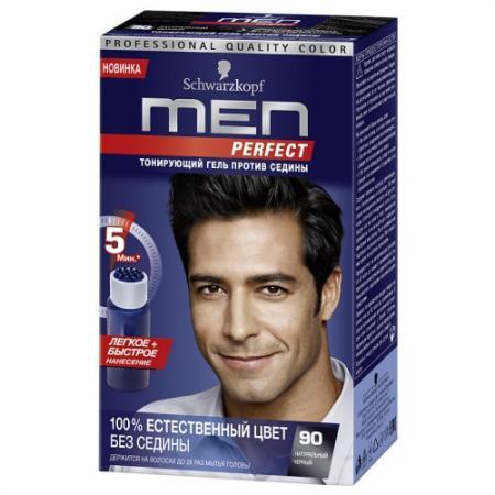 MEN PERFECT 90 Тонирующий гель для мужчин Черный 90 80мл schwarzkopf professional тонирующий гель men perfect 80 мл 7 оттенков 90 натуральный черный 80 мл
