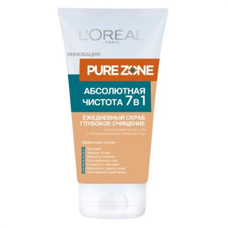LOREAL DERMO-EXPERTISE PURE ZONE скраб для лица 7 в 1 150мл kacper glosso paris 7 beige