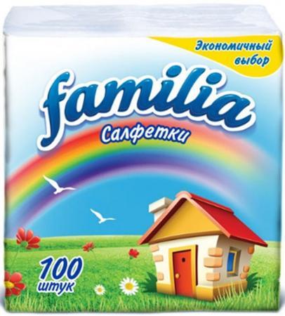 Салфетки бумажные Familia Радуга 100 шт без отдушки