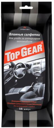 TOP GEAR Салфетки влажные для интерьера для ухода за салоном авто 30шт салфетки влажные top gear для рук антибактериальные lady 30шт