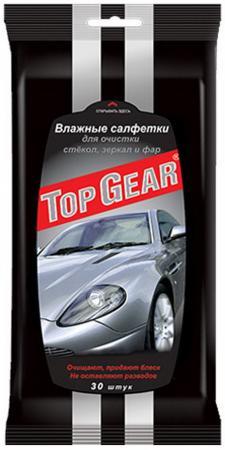 TOP GEAR Салфетки влажные для стекол,фар,зеркал 30шт салфетка grass it0313 для стекол зеркал фар