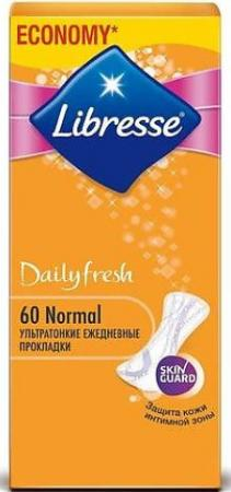 LIBRESSE Прокладки ежедневные Дэйлифреш Нормал 60шт гигиена для мамы libresse ежедневные прокладки style deo normal 60 шт