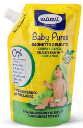 MILMIL BABY PURES деликатнный шампунь-пена для ванны 500мл (запаска) пена для ванны baby sun сare only natural шампунь гель с липой 460мл пена для ванны с примулой вечерней 460мл