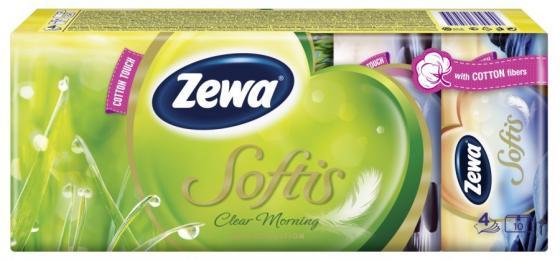 ZEWA Платки носовые Софтис 4-ех слойные Клиар Морнинг 9шт.х 10 носовые платки римейн набор платков носовых