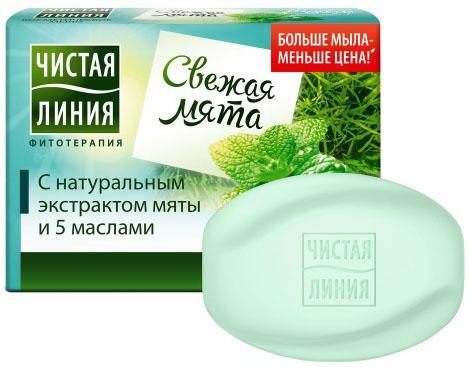 ЧИСТАЯ ЛИНИЯ Косметическое мыло Мята 90гр линия отрыва