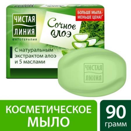 ЧИСТАЯ ЛИНИЯ Косметическое мыло Алоэ 90гр цена