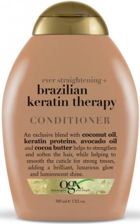 OGX Кондиционер Разглаживающий для укрепления волос Бразильский кератин, 385 мл кератин для волос 30 мл gemene кератин для волос 30 мл