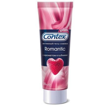 CONTEX Гель-смазка интимный Plus Romantic с ароматом клубники 30мл немецкий импорт эрос взрослая женщина человеческого тела смазка водорастворимым смазочное смазочный жидкость весело принадлежности 30мл