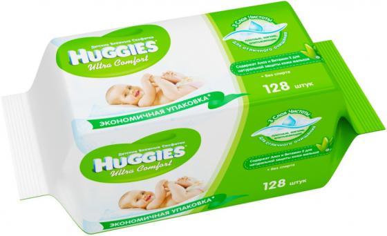 HUGGIES Салфетки влажные детские Ультра Комфорт Алоэ Дуо 2*64шт huggies влажные салфетки детские элит софт дуо без отдушек 128 шт уп 5 упаковок