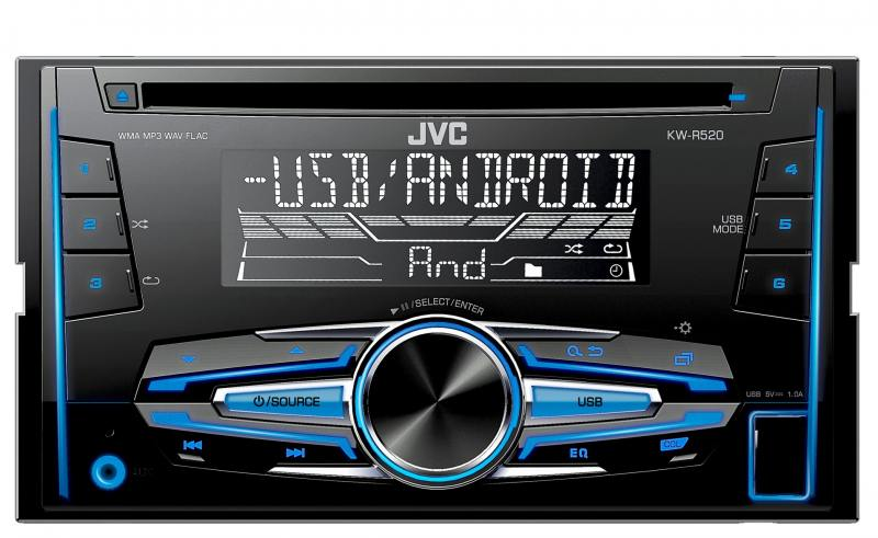Автомагнитола JVC KW-R520 USB MP3 CD FM RDS 2DIN 4x50Вт черный автомагнитола jvc kw v230bt usb