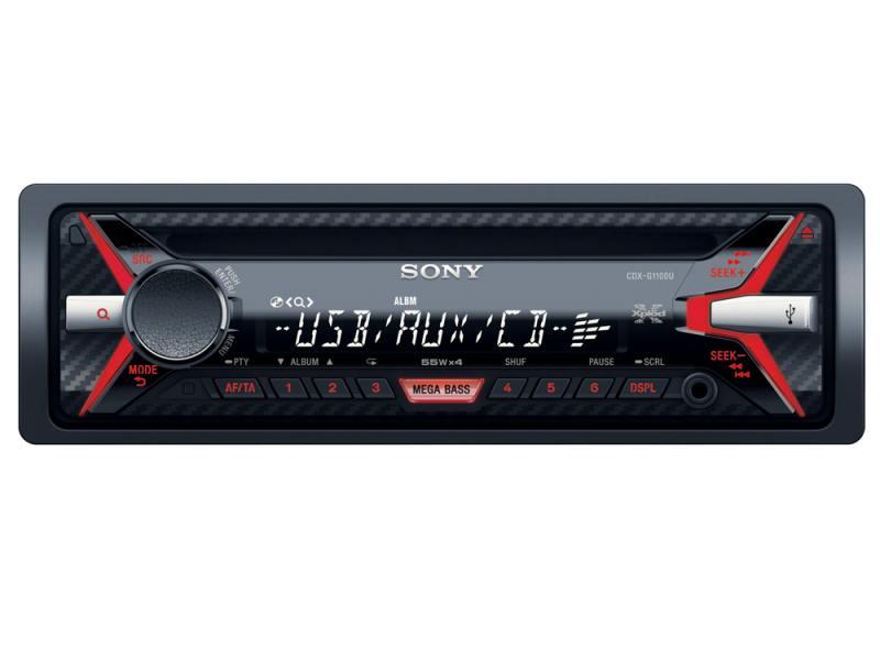 Автомагнитола SONY CDX-G1100U USB MP3 CD FM RDS 1DIN 4x55Вт черный автомагнитола kenwood kdc 151ry usb mp3 cd fm 1din 4х50вт черный