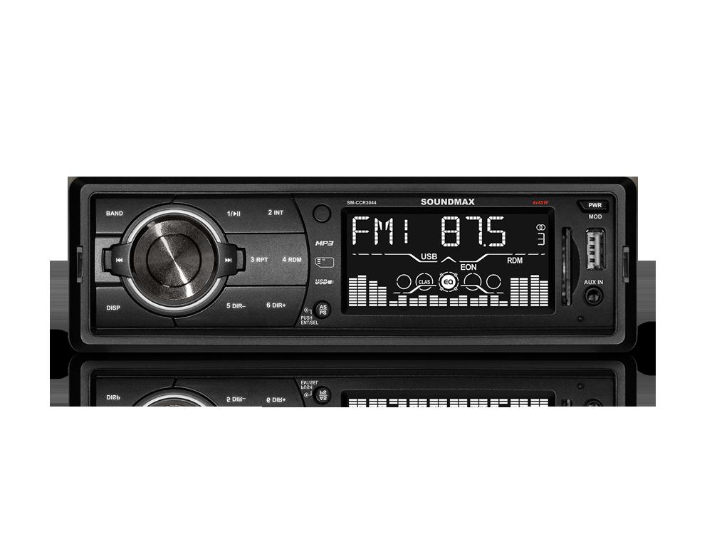 Автомагнитола Soundmax SM-CCR3044 бездисковая USB MP3 FM RDS SD MMC 1DIN 4x45Вт черный