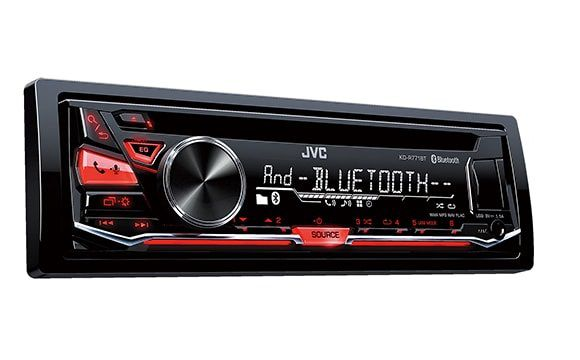 Автомагнитола JVC KD-R771BT USB MP3 CD FM RDS 1DIN 4x50Вт черный смартфон