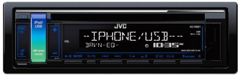 Автомагнитола JVC KD-R681 USB MP3 CD FM 1DIN 4x50Вт черный